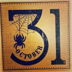 Large Halloween October 31 burlap wood sign spider